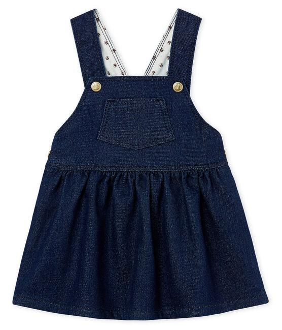 Robe salopette bébé fille en maille effet denim bleu Medieval / beige Ecru Cn