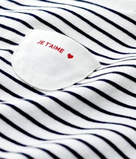 Salopette longue rayée bébé en coton biologique blanc Marshmallow / bleu Smoking