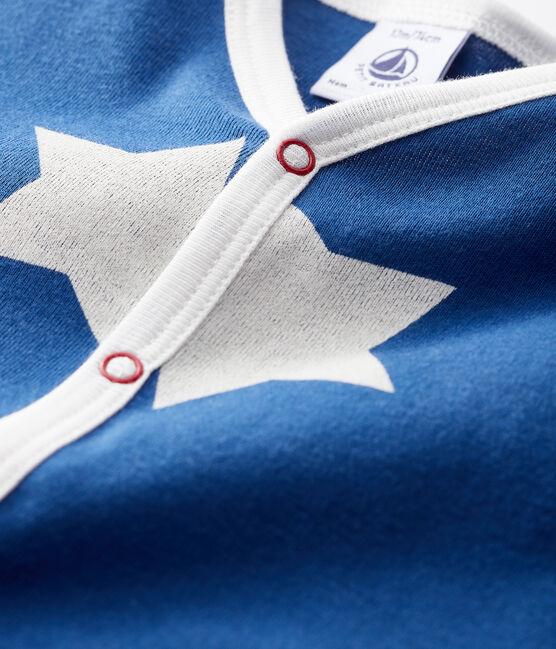 Dors-bien bleu à grosse étoiles bébé en côte bleu Major / blanc Marshmallow