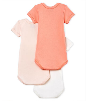 Trio de bodies manches courtes bébé fille en coton et lin lot .