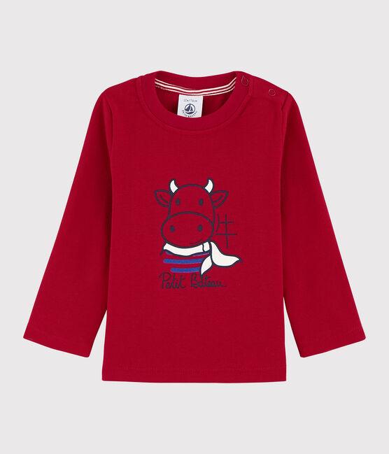 Tee shirt manches longue en coton bébé garçon rouge Terkuit