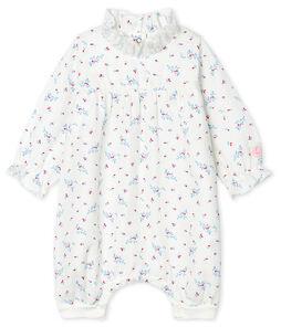 Combinaison bébé fille en tissu couche blanc Marshmallow / blanc Multico