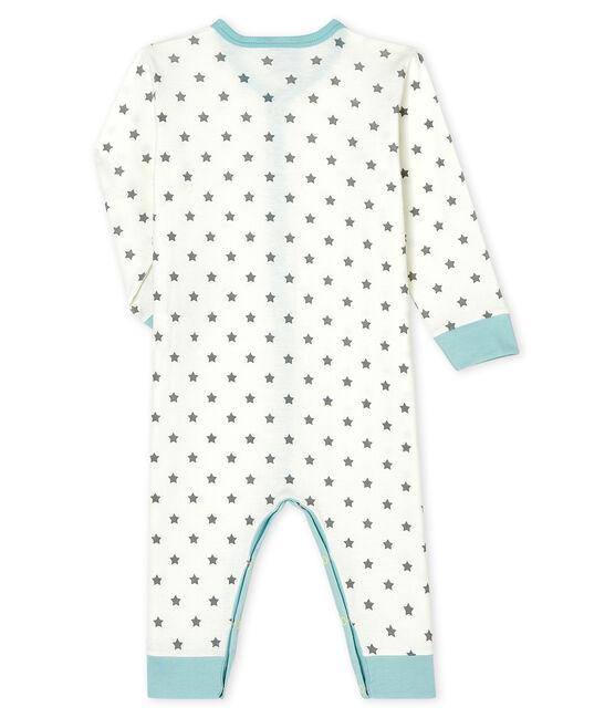 Dors bien sans pieds bébé garçon en côte blanc Marshmallow / gris Gris