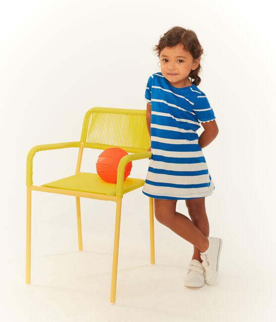 Robe manches courtes rayée bébé fille bleu Riyadh / blanc Marshmallow
