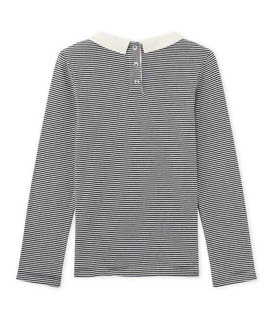 T-shirt fille manches longues en milleraies bleu Smoking / beige Coquille