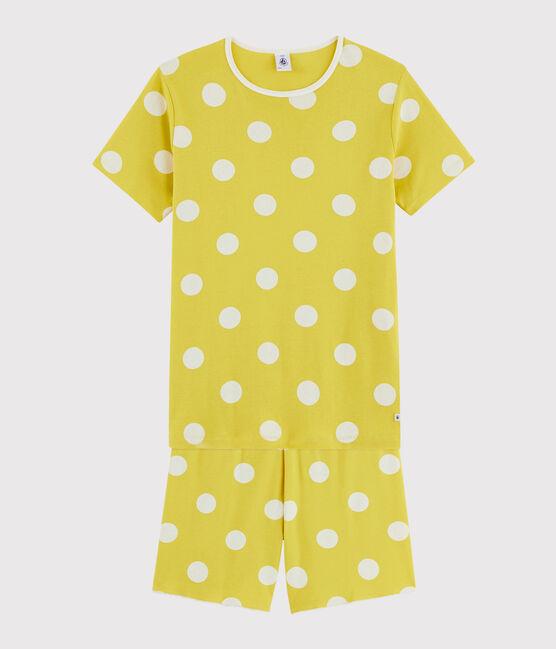 Pyjacourt fille / femme à pois en côte jaune Ble / blanc Ecume