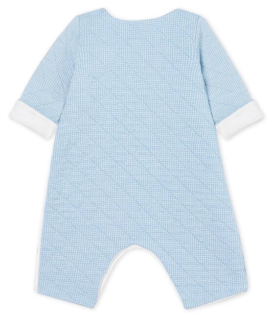 Combinaison longue bébé en tubique matelassé bleu Acier / blanc Marshmallow