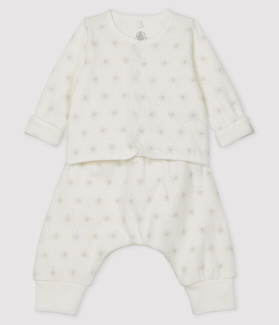Ensemble 2 pièces bébé mixte en tubique blanc Marshmallow / beige Perlin
