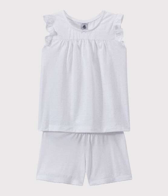 Pyjacourt blanc fille-femme en coton fin blanc Ecume