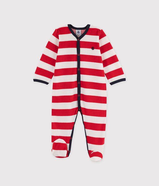 Dors-bien bébé garçon en velours à rayures rouges