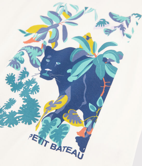 Pyjama jungle petit garçon en côte bleu Medieval / blanc Multico