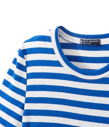 T-shirt femme en côte originale rayée bleu Perse / blanc Marshmallow