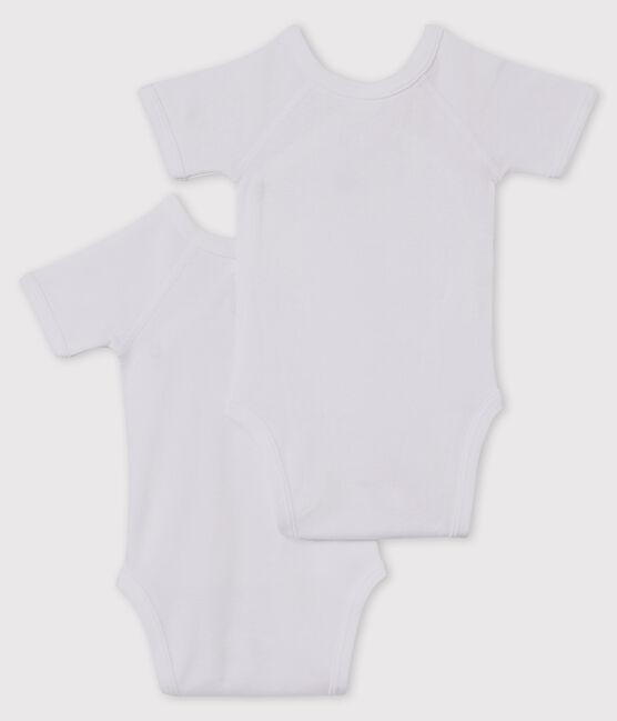 Lot de 2 bodies naissance blancs manches courtes bébé lot .