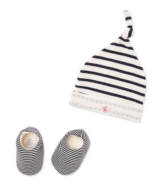 Ensemble bonnet de naissance et chaussons bébé beige Coquille / bleu Smoking