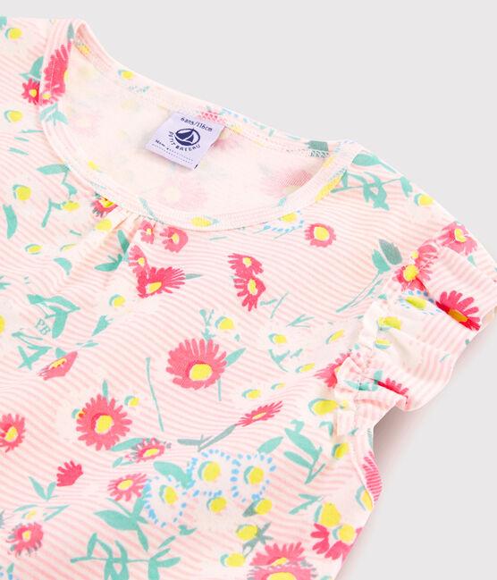 Pyjacourt fleuri petite fille en côte blanc Marshmallow / blanc Multico
