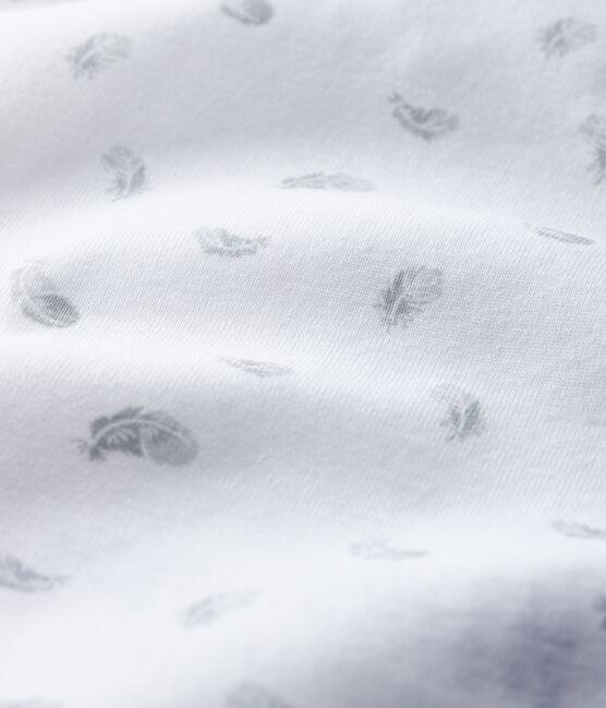Body unitaire manches courtes à imprimé plumes bébé blanc Marshmallow / blanc Multico