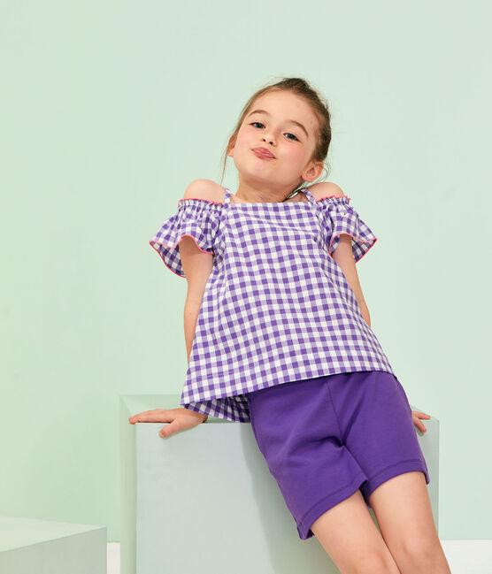 Bermuda maille enfant fille violet Real