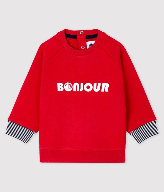 Sweatshirt bébé garçon imprimé rouge Terkuit
