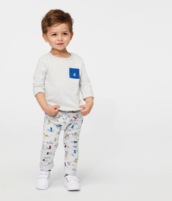 Pantalon bébé garçon en molleton imprimé gris Beluga / blanc Multico