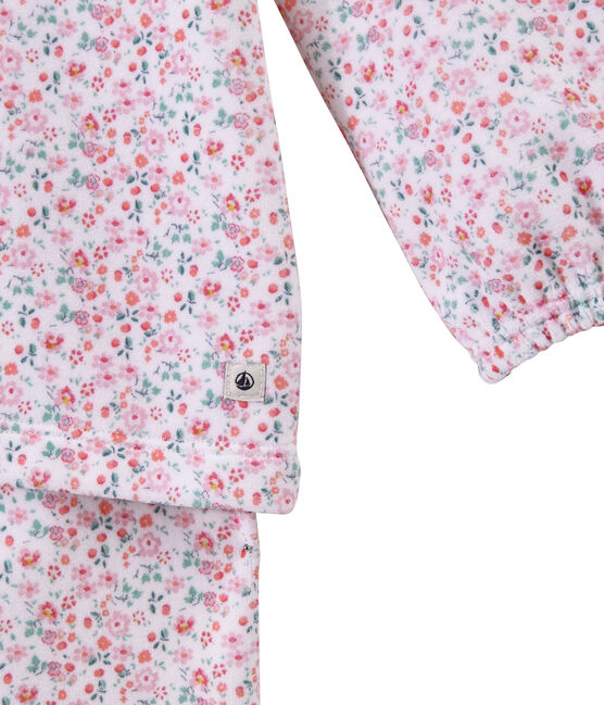 Pyjama fille en velours imprimé blanc Ecume / blanc Multico