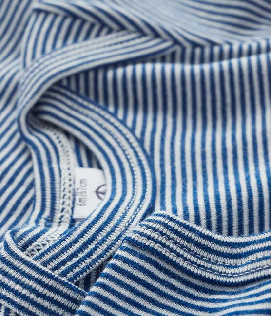 Body manches courtes bébé garçon-fille bleu Limoges / blanc Marshmallow