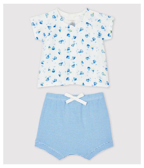 Ensemble 2 pièces bleu bébé en tissu couche et coton biologique blanc Marshmallow / blanc Multico