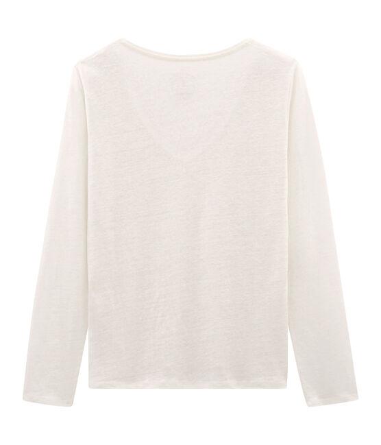 Tee-shirt manches longues femme en lin irisé blanc Marshmallow / rose Copper