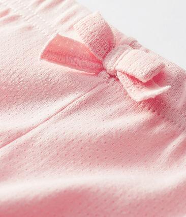 Pantalon bébé fille en maille unie rose Minois