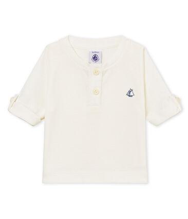 Tee-shirt manches longues bébé garçon en coton lin blanc Marshmallow