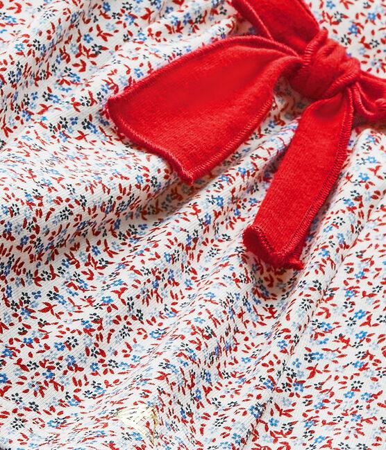 Robe bébé fille imprimée blanc Marshmallow / rouge Terkuit