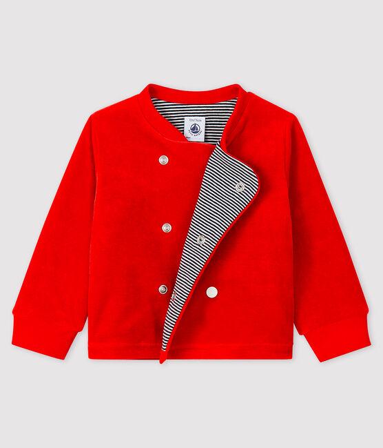 Cardigan bébé garçon en velours rouge Terkuit