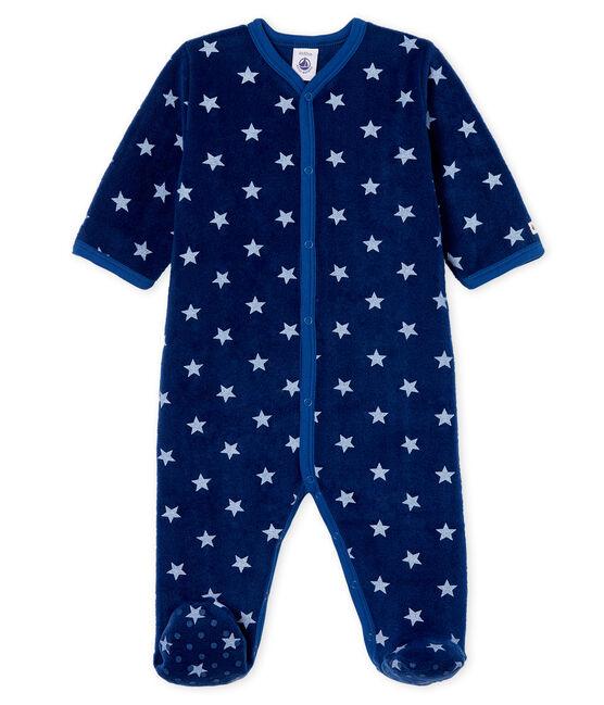 Surpyjama bébé garçon en polaire bleu Medieval / blanc Marshmallow