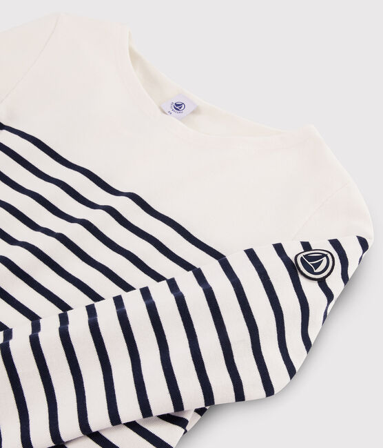 Marinière iconique Femme blanc Marshmallow / bleu Smoking