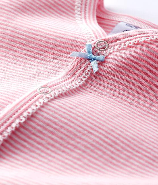 Dors-bien milleraies roses sans pieds bébé fille en côte rose Gretel / blanc Marshmallow