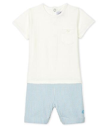 Combicourt bébé garçon faux deux-pièces blanc Marshmallow / bleu Acier
