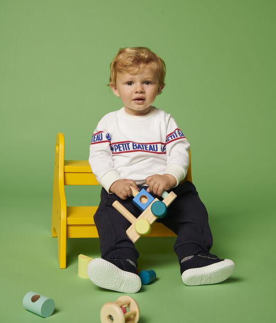Sweatshirt en molleton bébé garçon blanc Marshmallow