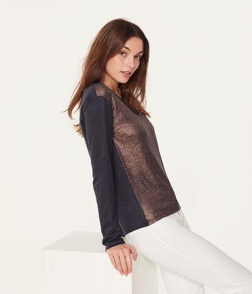 Tee-shirt manches longues femme en lin irisé