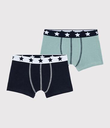 Lot de 2 boxers petit garçon en coton biologique et elasthanne