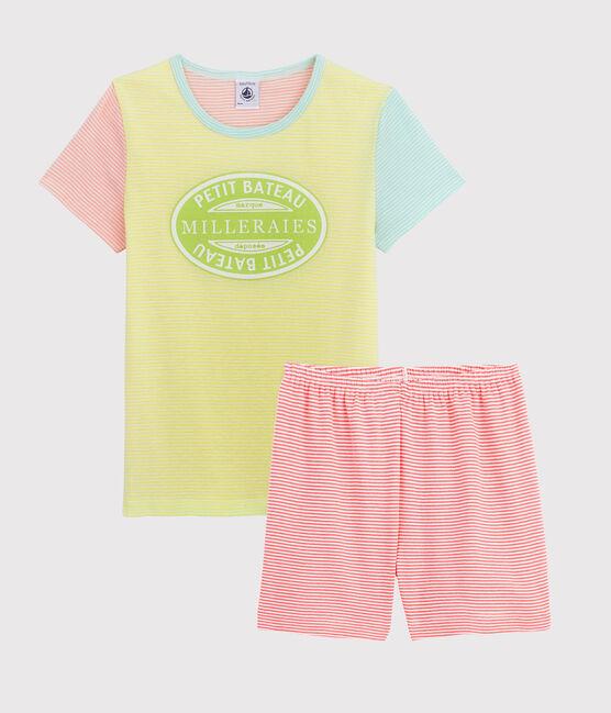 Pyjacourt rayé multicolore petite fille en côte jaune Sunny / blanc Multico