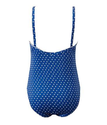 Maillot de bain fille 1 pièce à pois bleu Perse / blanc Marshmallow