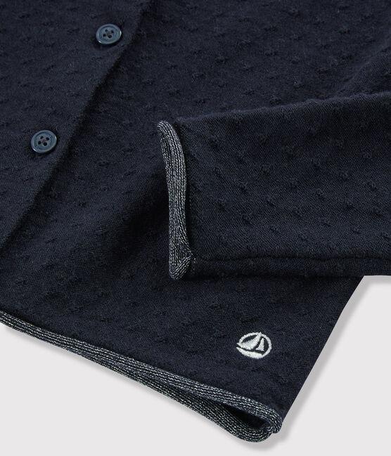 Cardigan en tricot laine et coton enfant fille bleu Smoking