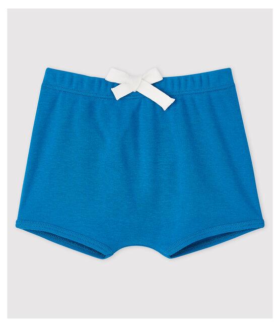 Short uni en coton bébé fille / bébé garçon bleu Mykonos