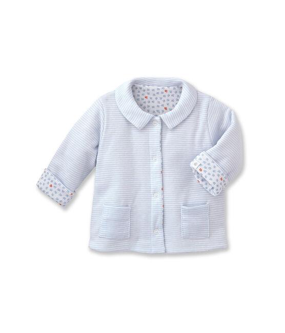Veste bébé mixte ouatinée réversible à milleraies bleu Fraicheur / blanc Ecume