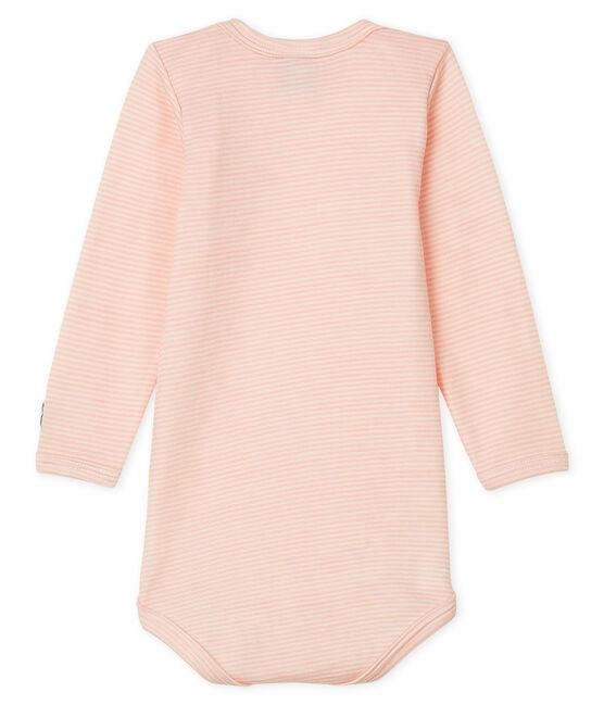 Body manches longues bébé en laine et coton rose Charme / blanc Marshmallow