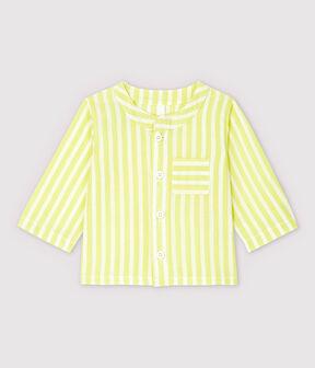 Blouse à rayures jaunes bébé en popeline de coton biologique jaune Jaune / blanc Marshmallow