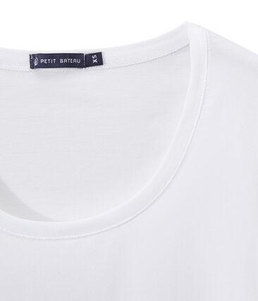 T-shirt femme COL DANSEUSE en jersey fin blanc Ecume
