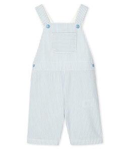 Salopette courte bébé garçon rayée bleu Acier / blanc Marshmallow