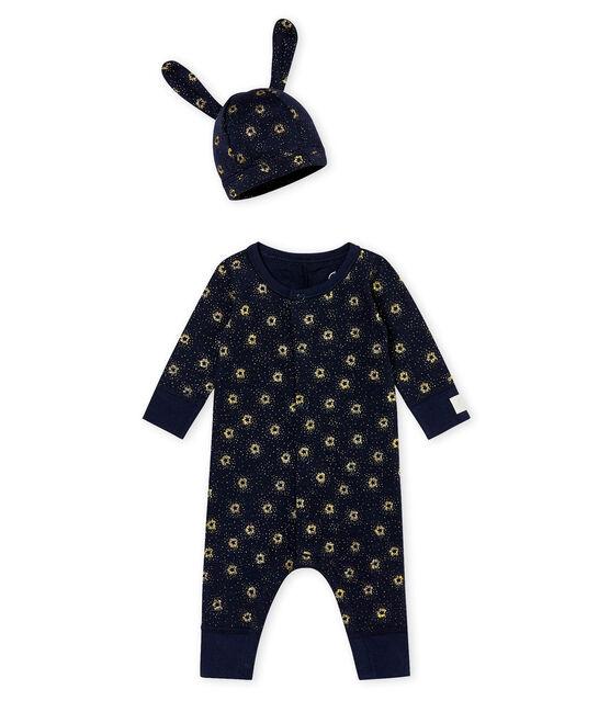 Combinaison et bonnet bébé garçon bleu Smoking / jaune Dore