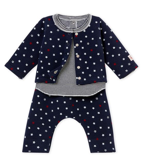 Ensemble trois pièces bébé garçon à étoiles bleu Smoking / blanc Multico