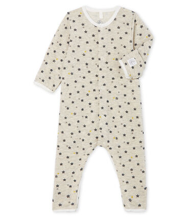 Combinaison longue bébé en laine et coton beige Montelimar / blanc Multico